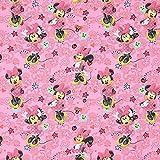 Fabulous Fabrics Baumwollstoff Disney Minnie Mouse 1 – pink — Meterware ab 0,5m — Oeko-Tex Standard 100 — zum Nähen von Kinderartikeln, Outdoor-Deko und Kissen und Tagesdecken
