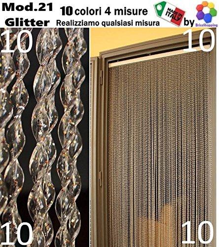 TENDA MOSCHIERA ZANZARIERA PVC CON GLITTER BRILLANTINI 10 COLORI 4 MISURE MADE IN ITALY MOD.21 (cm 100x220, Trasparente/Mix