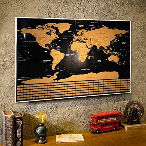 Kratzen Sie Weg von der Karte der Welt, Reise-Karten-Plakat-einfache verkratzende Goldfolie mit Landesflaggen (Welt-reise-karte)