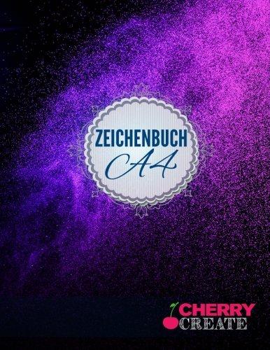 Zeichenbuch A4: Skizzenbuch | Sketchbook | Blankobuch |152 freie Seiten - Leer / Blanko - Weiss - Inklusive Register Index >> Original Cherry Create Zeichenbuch | Design Bokeh Violet  <<