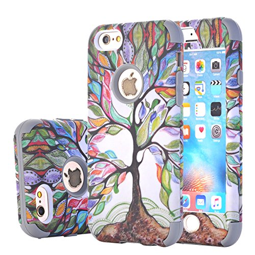Harsel Schutzhülle für iPhone 6S Plus, Motiv Lebensbaum, zweilagig, Hybrid-Rüstung, Weiches Silikon, Harter Kunststoff, stoßfest, langlebig, Schutzhülle für iPhone 6 Plus/6S Plus, grau (Verizon Entsperrt Iphone 6 Plus)