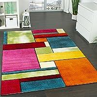 Tapis Design à Carreaux Contour Trendy Multicolore l'oeil Vert Bleu Orange Rose, Dimension:160x230 cm