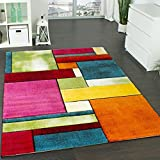 Tapis Design à Carreaux Contour Trendy Multicolore l'oeil Vert Bleu Orange Rose, Dimension:200x290 cm...
