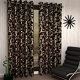 Home Sizzler Modern Eyelet Polyester Door Curtain - 7ft, Brown