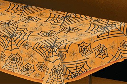 FOLIEN TISCHDECKE - SPINNENETZ - 137 x 274 cm, Plastik Kunststoff Tischdecken Halloween Deko (Halloween Türdekoration)
