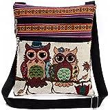 Damen Schultertasche Piebo Bestickt Eule Tragen Taschen Frauen Umhängetasche Handtaschen Casual Umhängetasche Reise Messenger