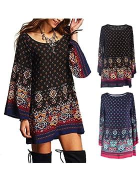 Bell Sleeve Loose Vintage moda corto mini vestido camisero Floral Print plus