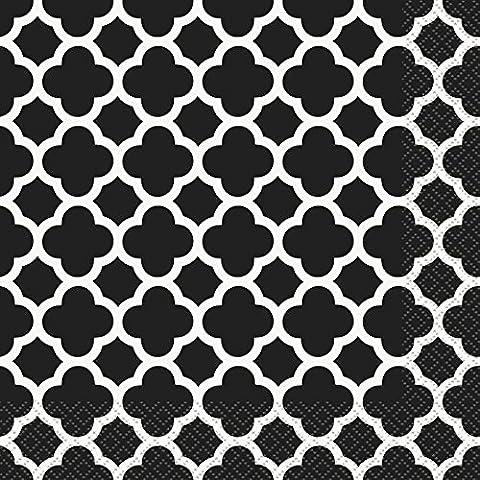 Unique Party - 38772 - Paquet de 16 Serviettes - Papier - Motif Quadrilobé - 16,5 cm - Noir