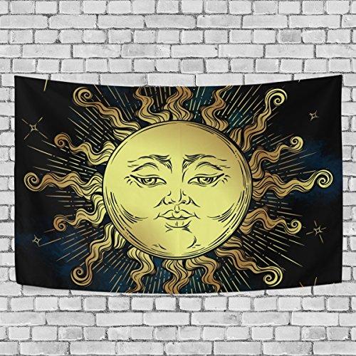 TIZORAX Gobelin Wandbehang Home Decor, Boho Golden Sun Sterne Astrologie Magic Symbol Gobelin Wanddekoration für Wohnzimmer Schlafzimmer Dekoration 152,4x 101,6cm, Polyester, Multi, 60 X 40 inches -