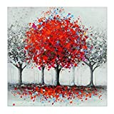 MXJSUA 5D Diamond Painting Full Round Drill Kits for Adults Pasted Embroidery Cross Stitch Arts Craft for Home Wall Decor Red Tree 12x12in