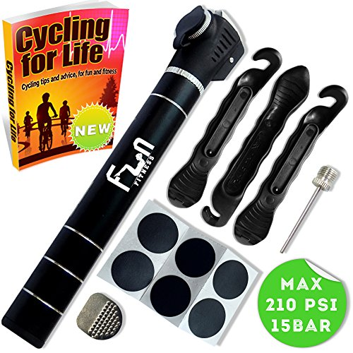 Mini Bomba DE Bici (Negro) con Kit Reparador De Neumáticos Y Parche Sin Punción Sin Pegamento  Micro Portátil De Aire para Bicicletas  Diseñado para Válvulas Schrader & Presta & Pelota
