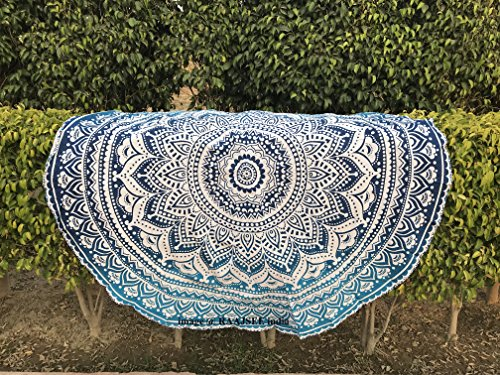 Tela redonda de mandala estilo hippie de Raajsee, de algodón, diseño indio bohemio, ideal como colcha, tapiz decorativo, mantel o toalla de playa, para meditación y yoga, 183 cm, algodón, azul, 75 inch