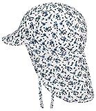 EveryHead Fiebig Babymütze Mädchenmütze Nackenschutzmütze Nackenschutzkappe Sommermütze Stoffmütze Bindemütze geblümt für Baby (FI-83822-S17-BM0-25-47) in Jeansblau, Größe 47 inkl Hutfibel