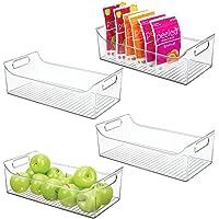 mDesign rangement frigo avec poignées (lot de 4) – bac alimentaire long en plastique pour fruits, légumes, conserves…
