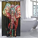 HROOME Wasserdichter Duschvorhänge Anti Schimmel 180x180cm Bunter Elefantdruck Badezimmer Duschvorhang Set Mit 12 Haken 150X180cm (150*180CM, Elephant)