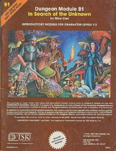 In Search of the Unknown (Dungeons & Dragons Module B1) (Dungeon module) by Mike Carr (1981-11-08) par Mike Carr