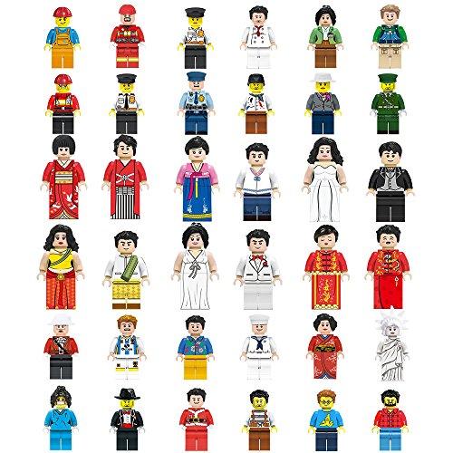 Mini Figuren Set-36 Stück Minifiguren Satz von Berufe, Bausteine der Community Menschen aus verschiedenen Branchen abgeschlossen, Bausteine Kinder Pädagogisches Spielzeug Geschenk (36 Stück) (Menschen Set Lego)