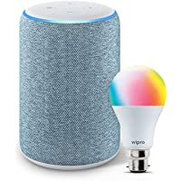 Amazon Echo (3rd Gen, Blue) bundle with Wipro 9W Smart LED bulb