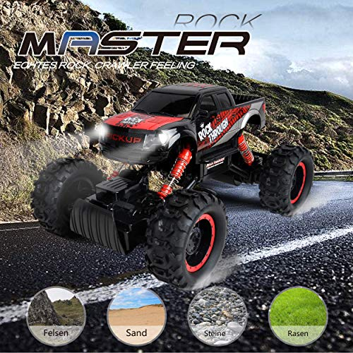 RC Auto kaufen Crawler Bild 2: Maximum RC Ferngesteuertes Auto für Kinder - 4WD Monstertruck - XL RC Auto für Kinder ab 8 Jahren - Rock Crawler (rot)*
