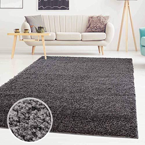 ayshaggy Shaggy Teppich Hochflor Langflor Einfarbig Uni Dunkelgrau Weich Flauschig Wohnzimmer, Größe: 150 x 150 cm Quadratisch