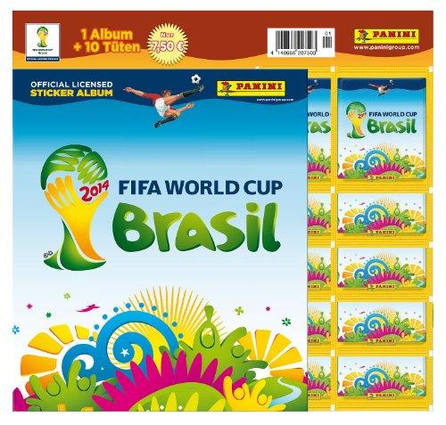 Panini 207503 - FIFA World Cup Brasil 2014, Starterset mit Sammelalbum, 10 Tüten und 5 Sticker (Cup Sticker Panini World 2014)