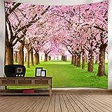 WXFC Baum-Tapisserie-Rosa-Blumendekor Blooming Japanese Cherry Sakura auf dem See-weicher romantischer Mandelbaum-Farben-Effekt-Wand-Hängen, 002