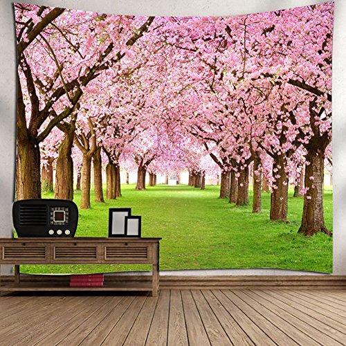 BKPH Baum-Tapisserie-Rosa-Blumendekor Blooming Japanese Cherry Sakura auf dem See-weicher romantischer Mandelbaum-Farben-Effekt-Wand-Hängen, 002 - Cherry Wand