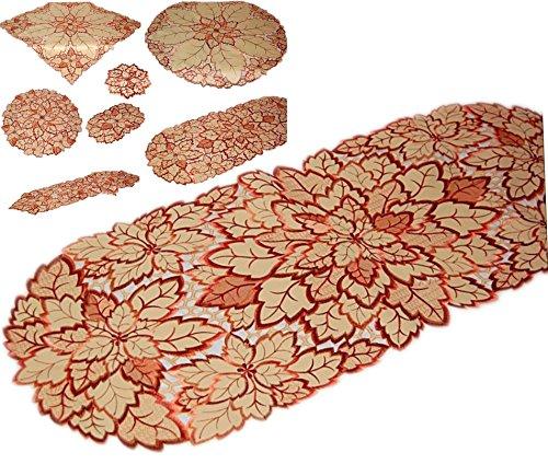 E 45x110 cm oval Vanille creme BLATT Blätter terracotta weinrot gestickt Dekoration HERBST Blätterdecke (Tischläufer 45x110 cm) (Herbst Blätter Tischläufer)