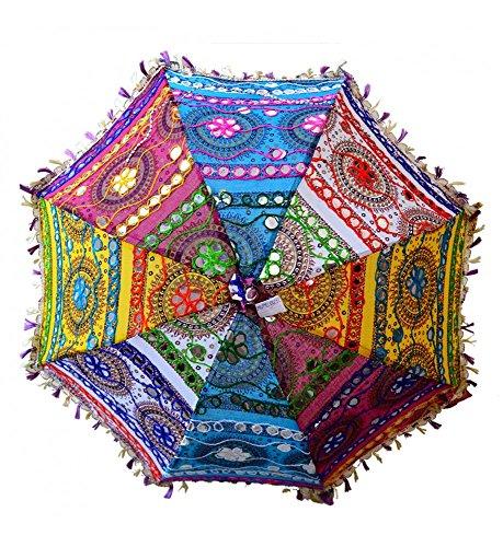 ganesham Handicraft- indio decorativo hecho a mano Funda de algodón Espejo trabajo bordado playa paraguas de protección UV paraguas, sombrilla de sol Paraguas bordado, Boho Indian boda paraguas sombrilla