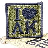 """OneTigris Taktisches Stickerei Moral Patch """"I Love AK"""" Klett-Patch (Grün)"""