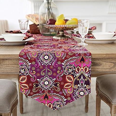 Flags Of European Table Lit Runner,Exquise Fleur Imprimer Drapeau De