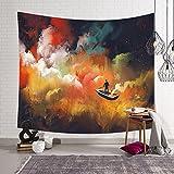 QCWN Fantasy-Bild, abstrakte Malerei, Wandbild zum Aufhängen - bunte Feder und Man auf einem Boot im Nebel, Heimdekor, Kunst, Polyester, 2, 59Wx51L