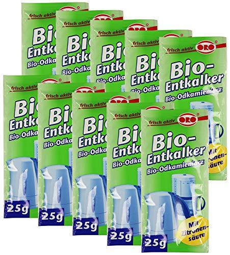 com-four 250g Orofix Bio-Entkalker Sparpack für Kaffeemaschinen & Wasserkocher - mit Zitronensäure (10 x 25g)