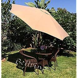 """Bellrino Décor de remplacement de lumière Café/Tan """"solide et épais"""" Parapluie Canopy pour 2,7m 8baleines lumière Café/Tan (Canopy uniquement)"""