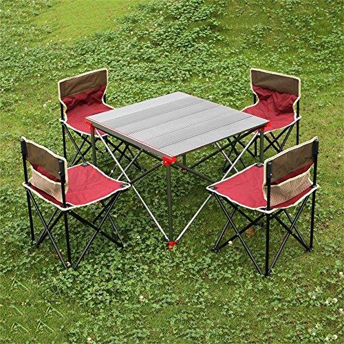 GHM Klapptisch Portable Klapptisch-Aluminiumeibrollen-Tabelle im Freien plus großer Picknick-Grill-Tabellen-Stuhl (Farbe : AC) (Ac-möbel-stuhl)