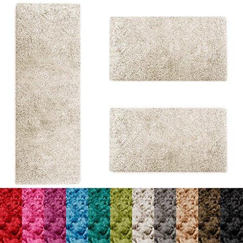 Casa pura scendiletto sphinx | tappeto camera | pelo lungo | set da 3 tappeti | moderno | bianco panna