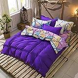 Bettbezug Set Nähen Farbe Geometrie, 3 Stück Super Weiche und Angenehme Mikrofaser Einfache Bettwäsche Gemütlich Enthalten & Kissenbezug Betten Schlafzimmer