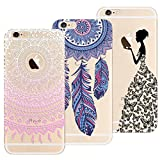3x Coques,Yokata 3 en 1 Coque iPhone 6S, iPhone 6 (4.7 pouces) , Etui iPhone 6S / 6 Silicone Souple Étui Transparent Swag Gel Case Ultra Fine Mince Housse Protection Antichoc Motif Mandala Rose + Attrape Reve Bleu + Fille Princesse