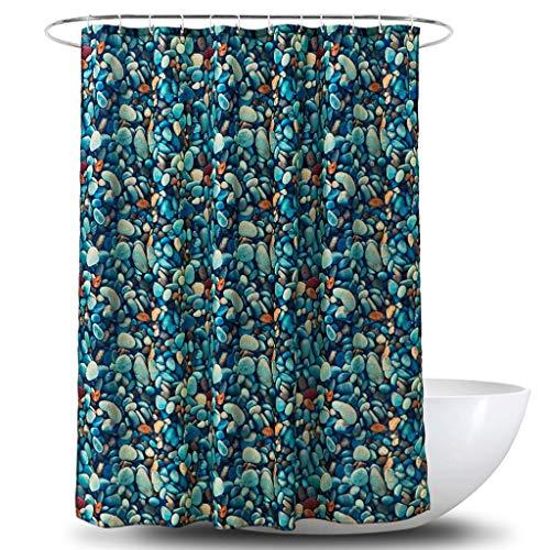 Duschvorhang 3D Digital Color Cobblestone Druck Polyester Wasserdicht PA Beschichtet Bad Vorhang Badezimmer 180 cm