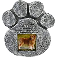 Petcabe Paw Print Dog Memorials & Tombstones, Polyresin Laser Engraved Pet Slate Memorial Stone, Handmade Pet Grave Marker Dog Plates & Plaques in memory of dog and cat, Features a Photo Frame and Sympathy Poem - Indoor Outdoor Dog or Cat For Garden Backyard - Loss of Pet Gift