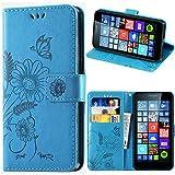 kazineer Microsoft Lumia 640 Hülle, Leder Tasche Handyhülle für Microsoft Lumia 640/640 LTE Schutzhülle Brieftasche Etui Case - Türkis blau