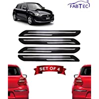 Fabtec Bumper Protector Guard Double Chrome Strip for Maruti Swift 2018 (Set of 4) Black (Double Chrome Strip)