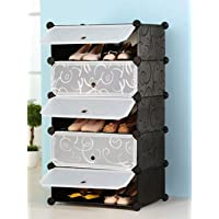 Zemic DIY Shoe Rack Organizer/Multi-Purpose Plastic 5 Layers Portable and Folding Shoe Rack (Black $)