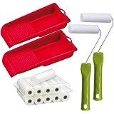 Lackier Set: 10 x Schaumwalzen 11 cm fein gerade | 2 x Farbroller Bügel | 2 x Farbwanne | Lackierwalze Lackierrolle Schaumstoff-Walze | Farbwalzen-Bügel Aufsteckbügel | Lackierwanne Lackwanne
