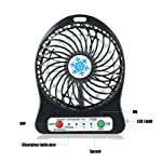 Go Sounds Portable Mini USB Fan Rechargeable Battery Operated with 3 Speed for Wind Speeds Control, 1 Led Lamp on Side...
