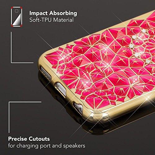 iPhone 6 6S Hülle Handyhülle von NICA, Durchsichtiges Slim Silikon Case mit Strass-Muster Metall-Optik Dünne Schutzhülle Glitzer-Steine Bling Cover Etui, Handy-Tasche für Apple iPhone 6S 6, Farbe:Pink Pink