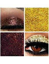 Glitter Eyes Duo Set 2 - Coffee & Gold Holographic Eye Shadow Fixing gel Long Lasting