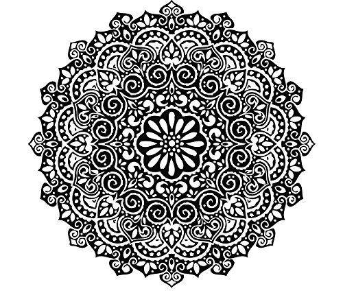 Mandala Wand Aufkleber indischen Muster Oum OM Zeichen Aufkleber Vinyl Aufkleber für Studio Yoga Home Decor Art Wandmalereien Schlafzimmer Dekorationen (mn273), Vinyl, 96cmTall x 96cmWide (Home-yoga-studio)