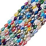 nbeads 10Strähnen facettiert Tropfen Glasperlen Strähnen 40,6cm gemischt Kristall AB Farbe, 15x 10mm, Loch: 1mm