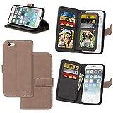 KANTAS Coque 9 Cartes pour iPhone 6S iPhone 6 Housse Mat Portefeuille Etui à rabat avec Pochette Fonction Stand Fente pour Carte 9 Magnétique PU Leather Portables Cas pour iPhone 6S/iPhone 6 (4.7') Kaki